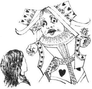 Grabado de Carroll en la primera versión autógrafa del libro
